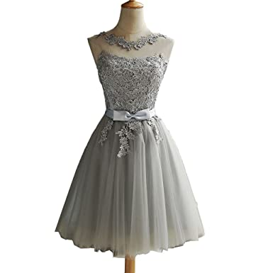 dd531a1a478b A Line Knee Length Silvery Tulle Lace Short Prom Dresses in Stock Scoop  Neck Sleeveless Lace