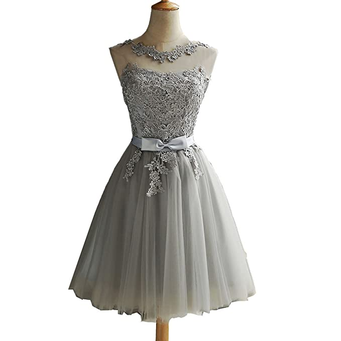 A Line Silverychampagnewhitered Tulle Lace Short Prom Dresses Lace Up On Back Party Dress Gown Cocktail Dress