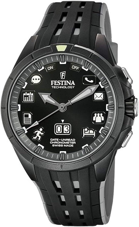 Festina Technology - Reloj Bluetooth para Hombre Color Negro Correa Caucho FS3001/1