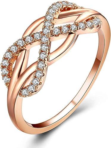 Edelstahl Damen Ring Infinity Verlobungsring Freundschaftsring Farbe:Rose Gold