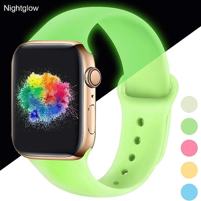 Imagen deYoumaofa Correa Compatible con Apple Watch 38mm 40mm, Correa de Silicona Repuesto Pulsera Deportivas para iWatch Series 5 Series 4 Series 3 Series 2 Series 1, 38mm/40mm S/M Nightglow Mint