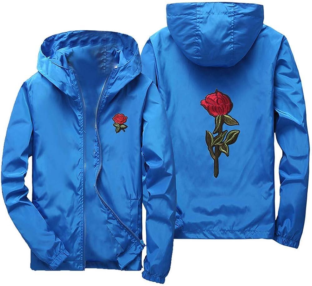 Mens Rose Print Outdoor Windproof Hoodie Zip-up Lightweight Windbreaker Big and Tall