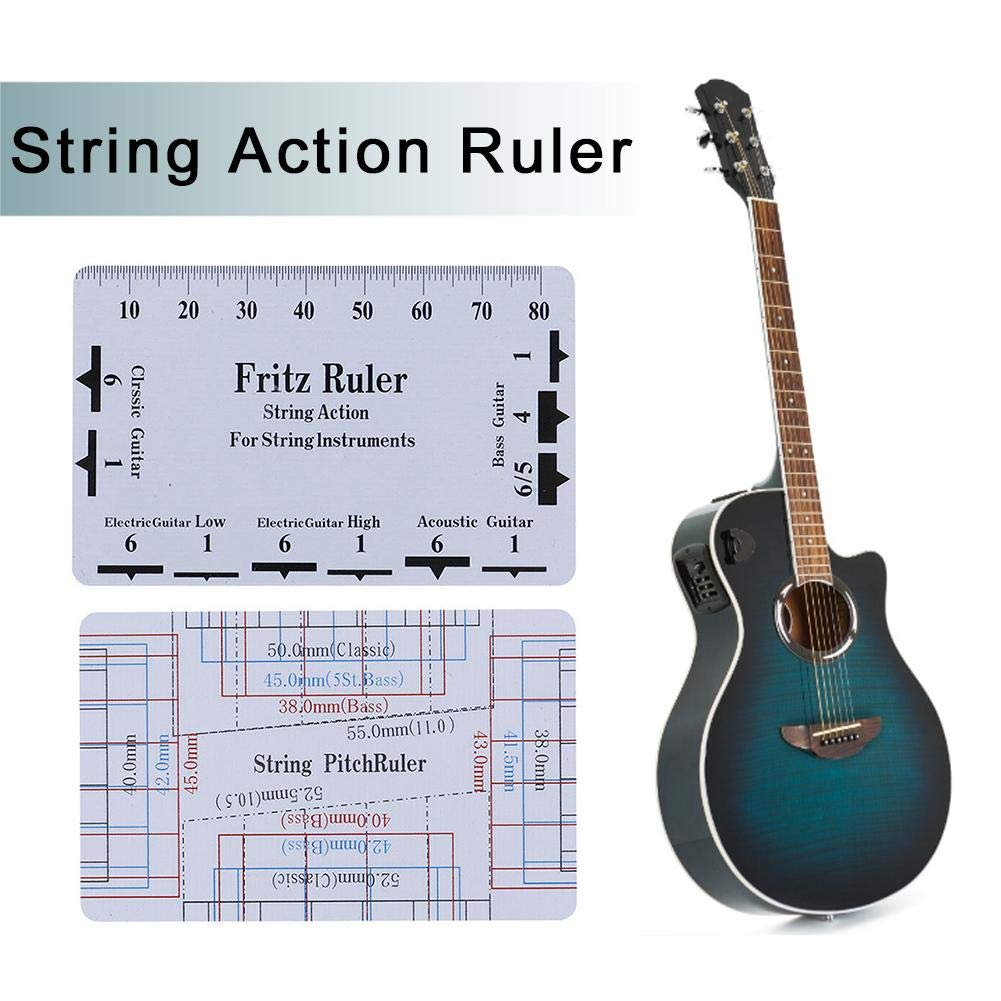 String Pitch Ruler String Action Gauge Ruler Baroque Guitar Bass Bass Pitch Luthier Tool para Instrumentos De Cuerda Showzon Regla De Acci/ón De Cuerda