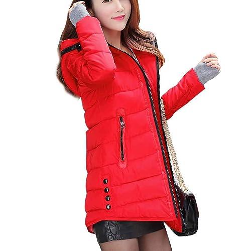 Masterein Mujeres con capucha abajo Parkas de algodón medio-largo espesar abrigo de manga larga de m...