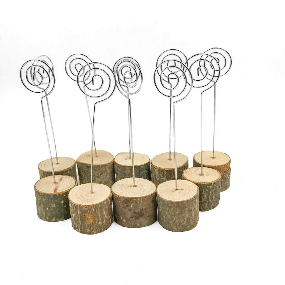 Giga Gud 10pcs Wooden Real Wood Base Wedding Table Numbers Holder for Party Home Decoration Vintage Birthday Event Banquet Anniversary Decor Natural Wooden Catering Reception Table Decoration