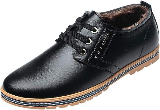 Vaycally Zapatos Brogues de encaje para hombre Zapatos con cordones negros para hombres, zapatos de ocio para hombres Zapatos cálidos Botas con cordones de punta redonda Zapatos de negocios Zapatos d: Amazon.es: