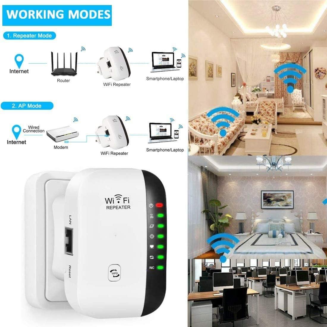 continue Ripetitore WiFi WiFi Range Extender 2.4GHz Ripetitore 300Mbps Access Point//modalit/à Ripetitore Porta Fast Pulsante WPS Portatile Extender Wireless Ripetitore