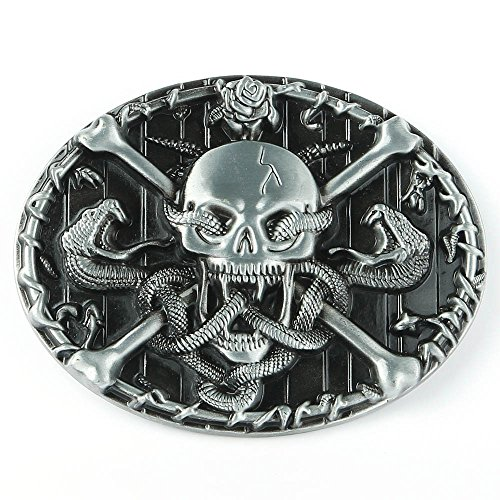 Senmi Skull with Snakes Belt Buckle Silver- with Senmi Box Gift Wrapped