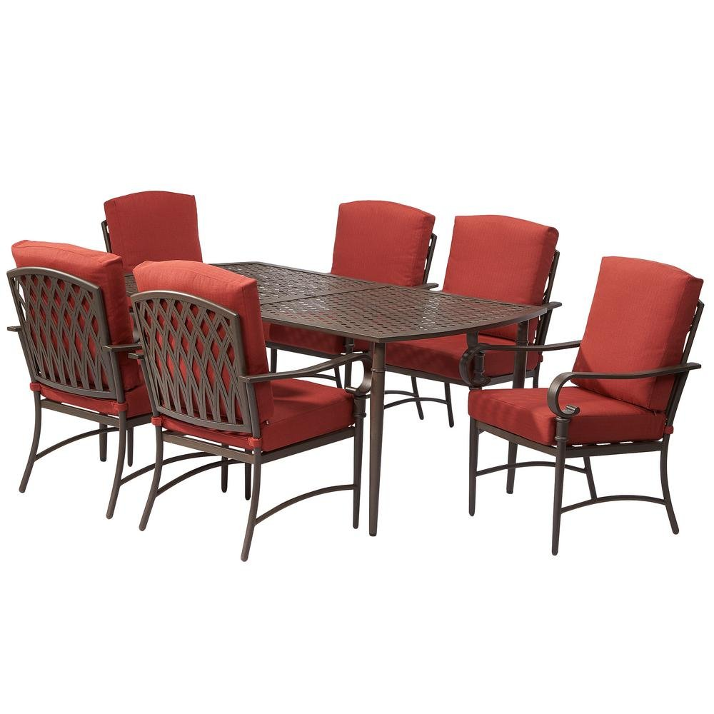Amazon.com : Oak Cliff 7 Piece Metal Outdoor Dining Set With Chili Cushions  : Garden U0026 Outdoor
