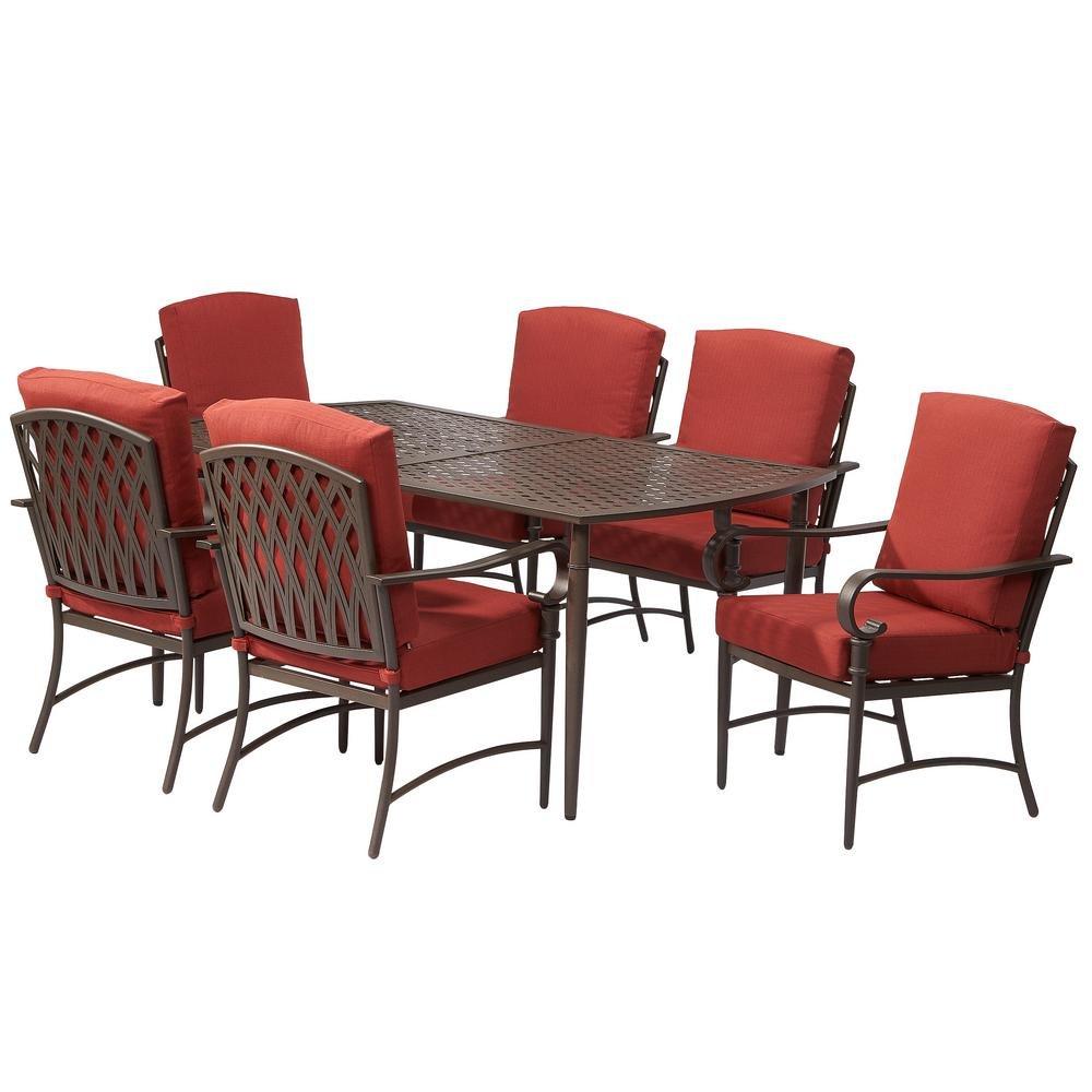 Amazon.com : Oak Cliff 7 Piece Metal Outdoor Dining Set With Chili Cushions  : Garden U0026 Outdoor