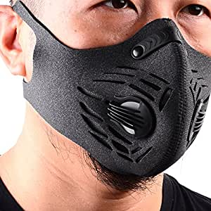 BASE CAMP Fitness Dust Mask with Earloop Adjustable Velcro and Activated Carbon Filter For Sport Training House Cleaning Gardening (Gray)
