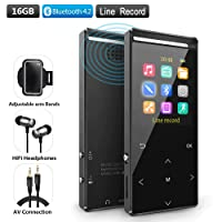 MP3 player with Bluetooth 4.2, 16GB and internal high quality speaker. Pedometer and armband included is great for jogging and fitness.HIFI FM Recording Shuffle play, MusRun born for music and running