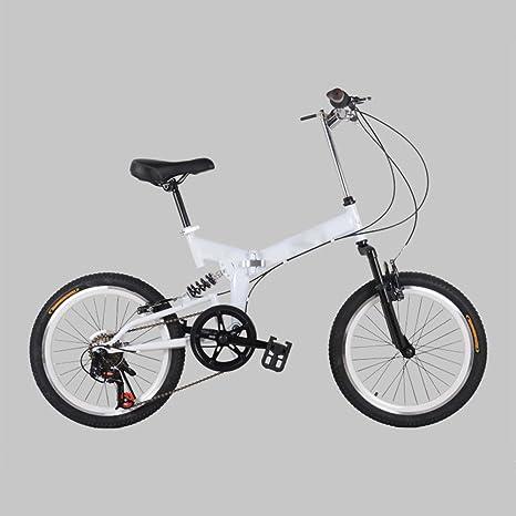 YEARLY Adultos Bicicleta Plegable, Montaña Bicicleta Plegable Velocidad 7 Bicicleta Plegable Hombres y Mujeres Bicicleta Plegable Estudiante-Blanco 20inch: Amazon.es: Deportes y aire libre