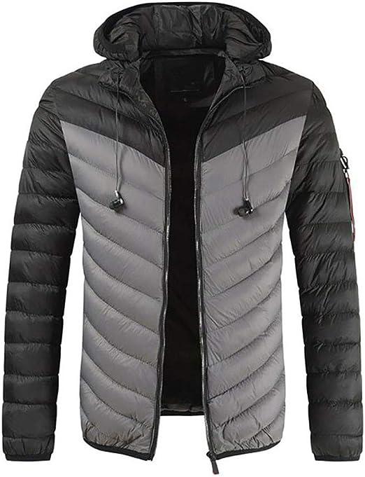 メンズダウンフードジャケット、軽量オータムコート、イージーケア、パックアウェイバッグ、キャンプ、旅行、ウォーキング用