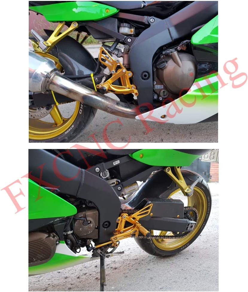NICECNC Silver Motorcycle Racing Fully Adjustable Rearset Footrests Foot Pegs Rear Set Replace Yamaha YZF-R6 2003 2004 2005 YZF-R6S 2006 2007 2008 2009