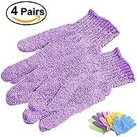 Frcolor 4 Pairs Exfoliating Bath Gloves Shower Gloves- Random Color