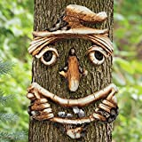 Bits and Pieces - Scarecrow Tree Face Yard Art - Outdoor Tree Hugger Sculpture Garden Decoration