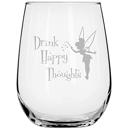 9bfc99531e Drink Happy Thoughts • 17oz Stemless Wine Glass • Disney-Inspired Glass •  Fairy Gifts