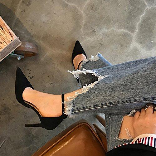 Vivioo Høje Hæle Sandaler Hæle Sommer Sko Baotou Sandaler Hæle Spidse Høje Hæle Vilde Spænde Med Fine Sorte 6cm EWaRPiOX