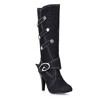 Women's Slouchy Mid Calf Denim Boots High Heels With Ankle and Top Straps