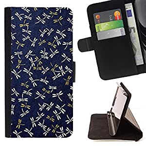 For Apple Iphone 6 Dragonfly Navy Blue Pattern Gold Spring Style PU Leather Case Wallet Flip Stand Flap Closure Cover