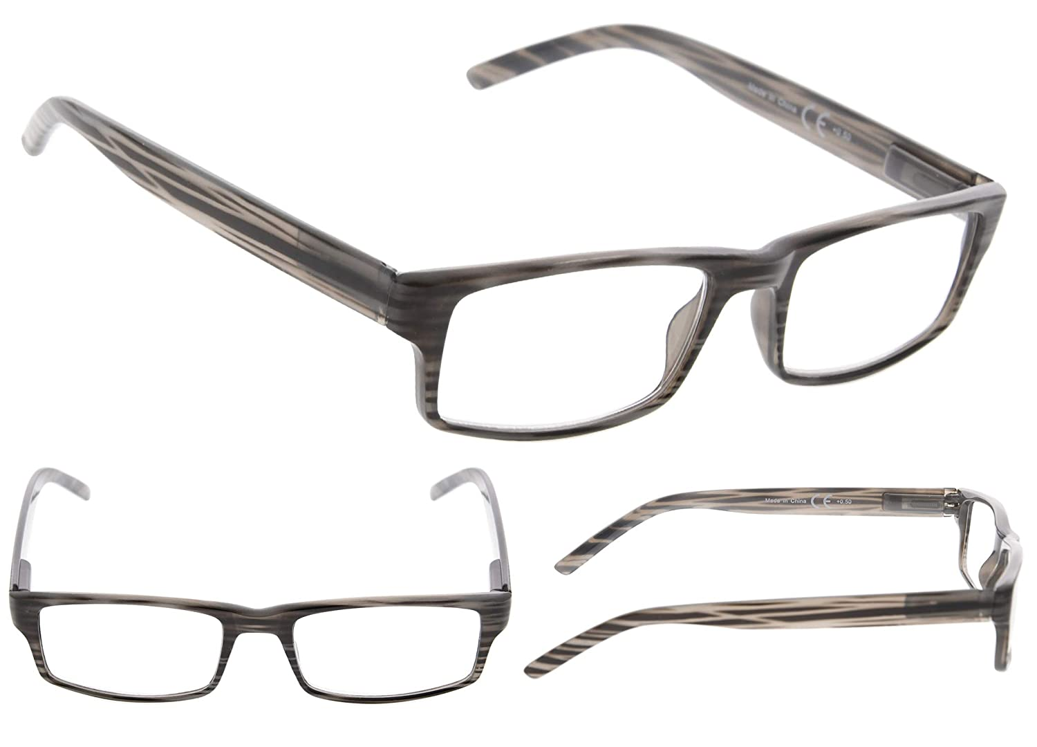 3-pack Striped Reading Glasses with Spring Hinge Includes Sunshine Readers