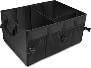 AsFrost Car Trunk Organizer Basket, Collapsible Foldable Auto Trunk Organizer Storage Bin Cubes, Portable Grocery Cargo Container for SUV, Vehicle, Truck, Home and Office