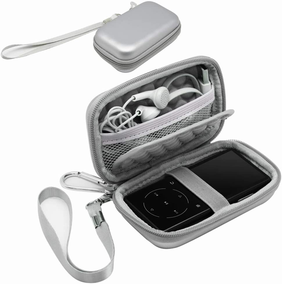 Surdarx MP3&MP4 Player Carrying Bag Box Storage Case for SOULCKER/G.G.Martinsen/Grtdhx/iPod Nano/Sandisk Music Player/Sony NW-A45 /B Walkman, USB Cable, Earphones, Memory Cards, U Disk, Keys (Silver)