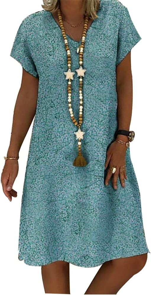 Vestido Boho Para Mujer Vintage Étnica Verano Algodón Lino ...