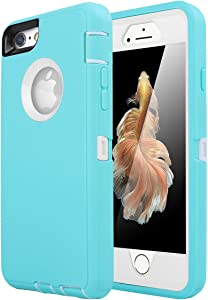 iPhone 6 Case, iPhone 6S Case [Heavy Duty] AICase Built-in Screen Protector Tough 3 in 1 Rugged Shorkproof Cover for Apple iPhone 6/6S (White/Light Blue)