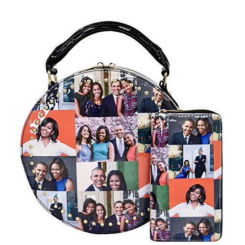 Picture collage satchel Michelle purses round crossbody Glossy magazine cover set Obama bag G 2pcs wxnqUn7RpC