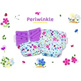 Superbottoms Cloth Diapers Plus Reusable All in One Diaper with 2 Organic Cotton Soakers and Dry Feel - Periwinkle