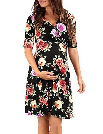 00507bf633077 Robe Elégante Grossesse Femme Maternité Mi Longue Robe Fleurie Col V à  Manches Courtes A-Line Taille Haute avec La Ceinture  Amazon.fr  Vêtements  et ...
