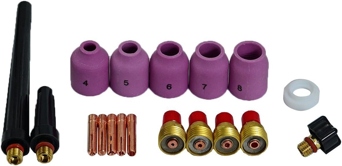 TIG Gas Lens Indietro Cap lungo Ugello di allumina Dimensione assortita 50pezzi Kit Fit torcia saldatura tig SR WP17 18 26
