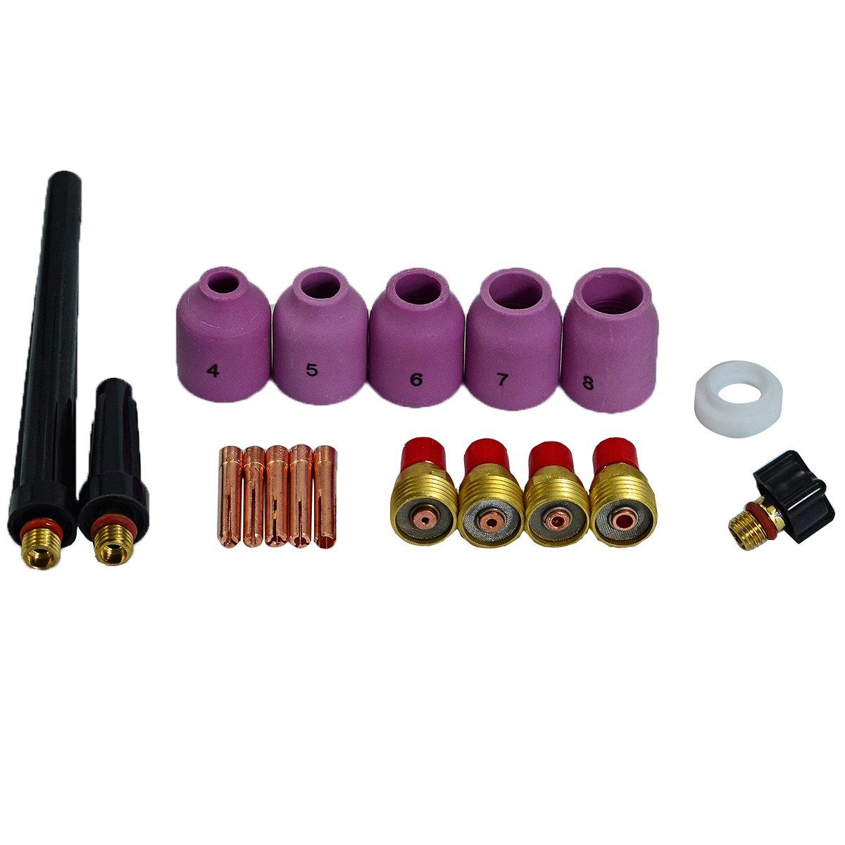 TIG Alumina Nozzle Gas Lens Collets Bodies Gasket Cup Back Caps Assorted Size Fit PTA DB SR 9 20 25 TIG Welding Torch 18pcs RIVERWELDstore WP-9 WP-20 WP-25