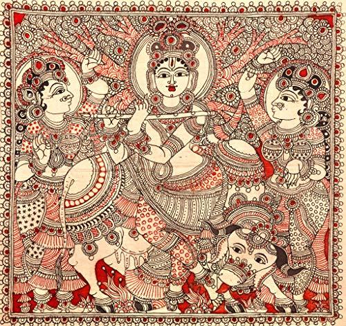 Exotic India Gopis Dancing to The Tune of Krishna's Flute - Kalamkari  Painting on Cotton - Artist -: Amazon.in: Home & Kitchen