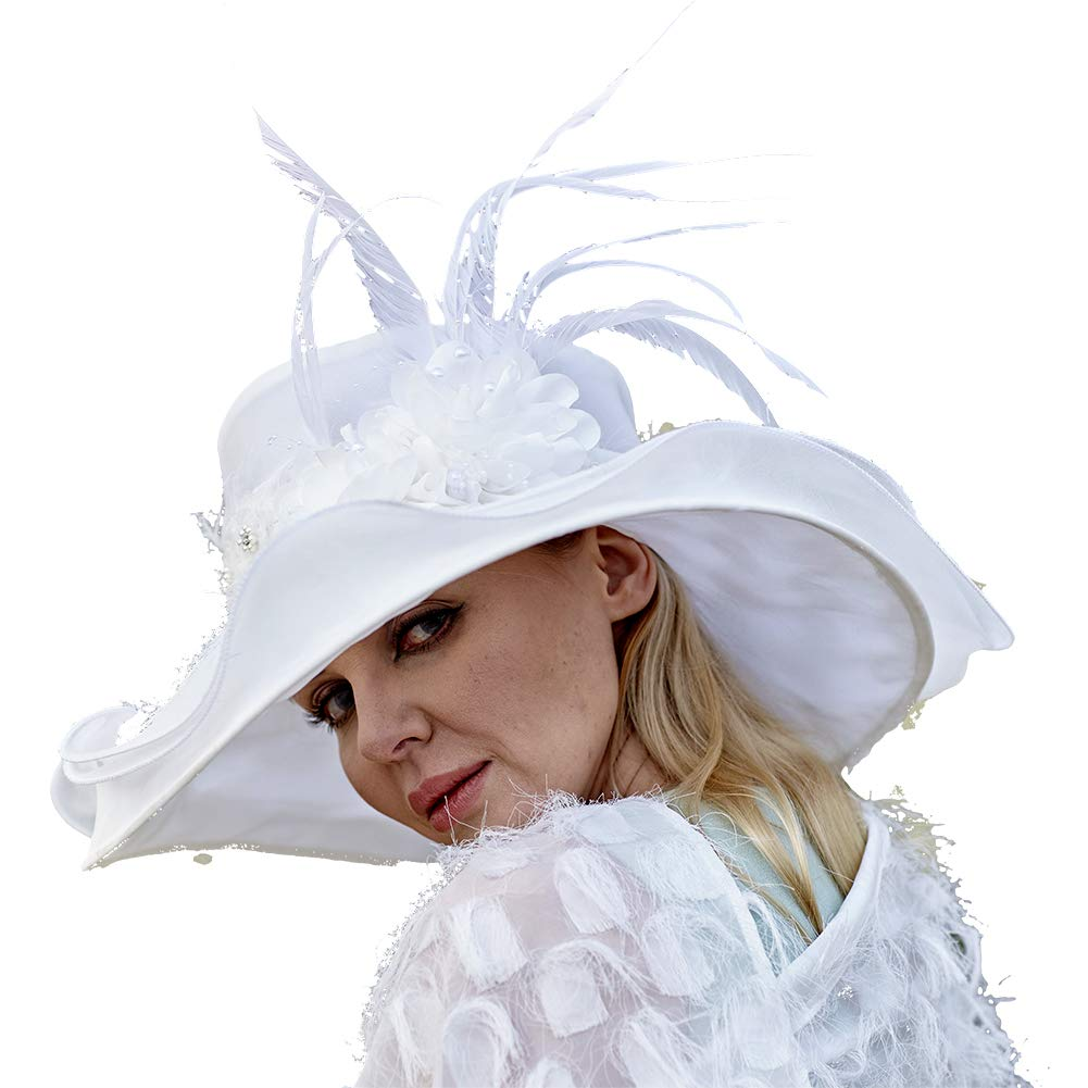 June's Young Women Hats Organza Lace Polka Dot Black White Wedding Wear Fedoras (White) by June's Young