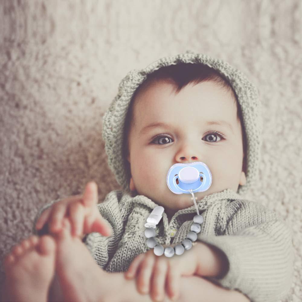 Chupetes Silicona Beb/é Cadenas para chupetes Como regalos Clip de Chupete Soothie chupete Holder /& Binky Clips mejores regalos de Baby Shower Beige
