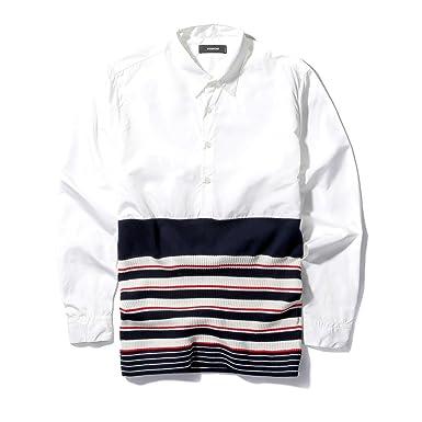 19dbd339d35bd VIISHOW 2017年 春 メンズ長袖のシャツ 薄いニット切り替え 100%綿で肌触り
