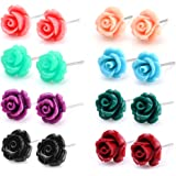 Charisma 8 pairs Stainless Steel Synthetic Turquoise Rose Stud Earrings for Girls Women Assorted Color Earring Set