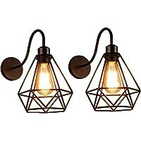 Lámpara de Pared de Hierro Estilo Vintage Retro Edison, Jaula de Metal Negro Industrial E27 Apliques de Pared Accesorio…