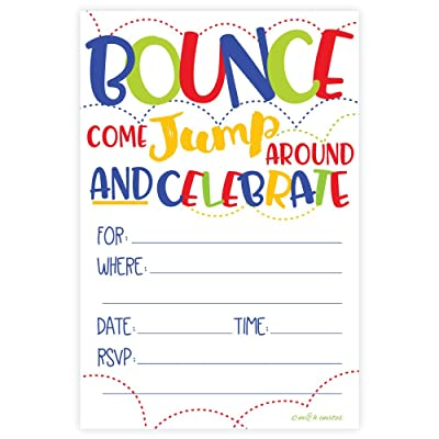 Bounce House or Jumping Party Invitations (20 Count) With Envelopes: Toys & Games