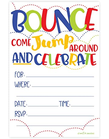 156ac88a204d Bounce House or Jumping Party Invitations (20 Count) With Envelopes