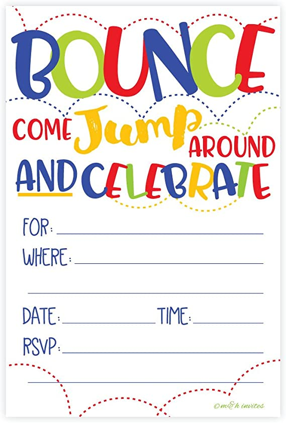 bounce house party custom invitations Bouncy house invitations jump house invitation kids birthday party invitation ball pit invitation