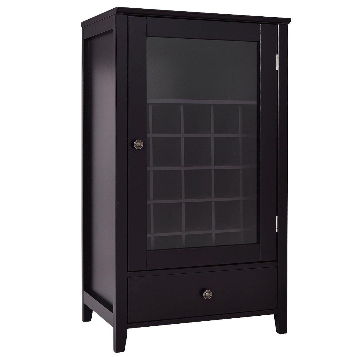 Giantex Wood Wine Cabinet Storage Home Shelf Wine Bottle Holder w/ Drawer Brown