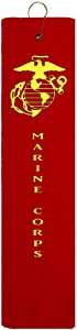 Marine Corps EGA USMC Tri-fold Golf Towel with Grommet & Hook Father's Day Club Ball Tee Golfing Gift Birthday Variety Colors Towels Vinyl