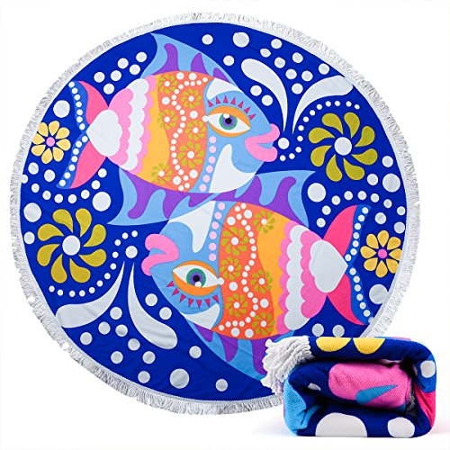 Beach Towel Ricdecor Indian Mandala Microfiber Large Round Beach Blanket with Tassels Ultra Soft Super Water Absorbent Multi-Purpose Towel 59 inch across (NO.15)