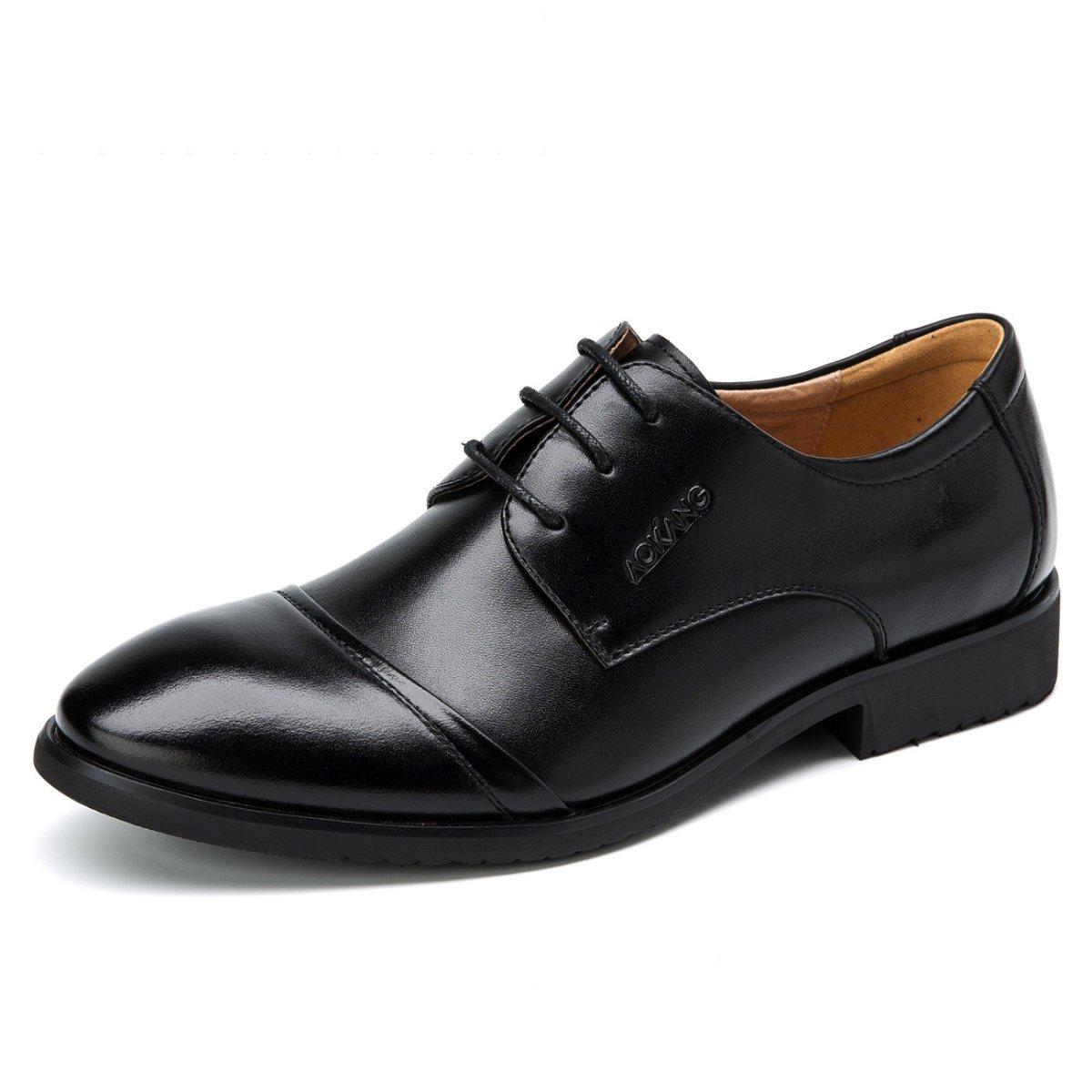 Gran De Cuero De Cuero De Negocios Puntas De Encaje Zapatos De Cuero De Los Hombres De Baja 39|Black