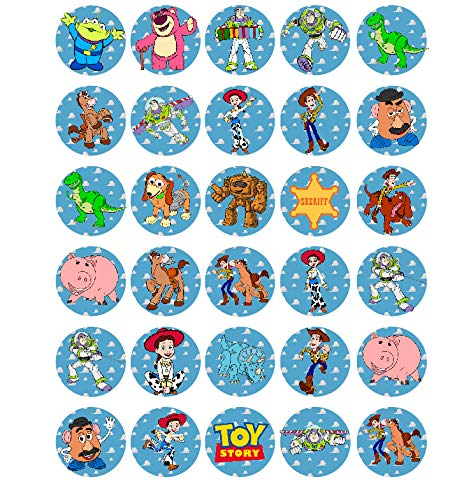 (30 x Edible Cupcake Toppers - Toy Story Themed Collection of Edible Cake Decorations | Uncut Edible Prints on Wafer Sheet )