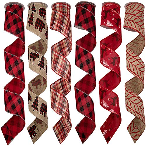 """MONOKIT Wired Christmas Ribbon, Classic Red Burlap Fabric Ribbon Rustic Patterns Wired Ribbon for Christmas Holiday Tree Wreath Gifts Bows Crafts Decoration 36yd(2.5"""" x 6Yard Each)"""